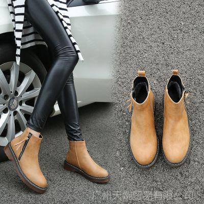 222-17秋冬季2017新款短靴女加绒马丁靴英伦女靴棉靴保暖女士短靴