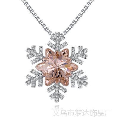 欧美饰品圣诞节时尚新款雪花毛衣链奥地利元素水晶项链货源批发