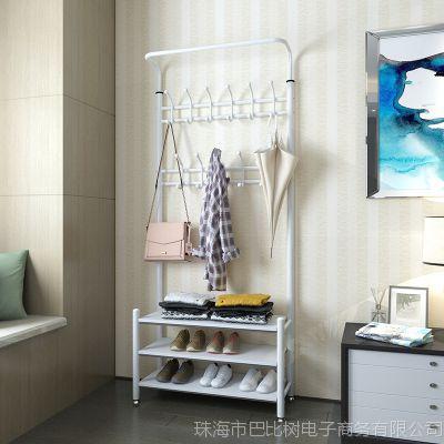 多功能落地衣帽架挂衣架简易衣鞋架组合家用置物架卧室挂衣服架子