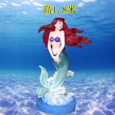 玻璃钢彩绘海洋动物生物雕塑美人鱼雕像