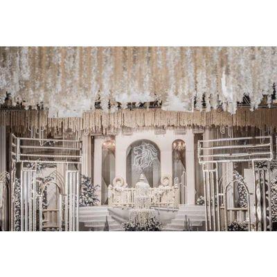 婚庆布景礼堂布置花艺装饰酒店婚礼堂一站式布景展会布置舞台设计全国可接帷幔