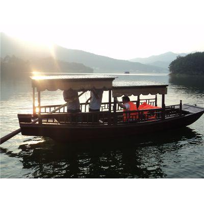 浙江带篷子木船直销 公园游船 手划船 摇橹船 现货出售