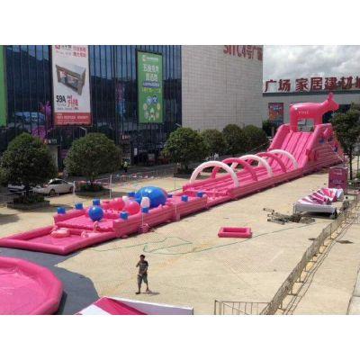 2019水上乐园全新升级版-粉色滑梯出租粉色水上冲关租赁