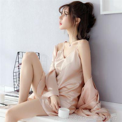 春秋季睡衣女真丝夏季长袖性感冰丝绸吊带睡裙睡袍两件套装家居服