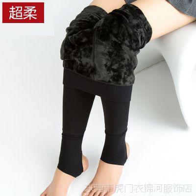 包邮冬季加厚打底裤纯黑色加绒踩脚外穿显瘦无缝一体裤厂家直销