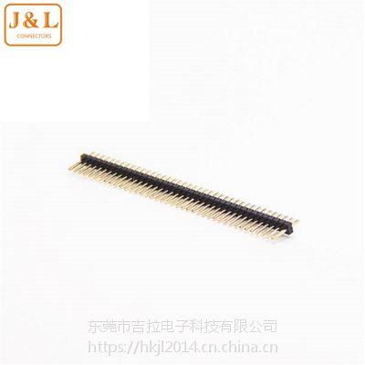 电子元器件1.27mm间距单排排针40PIN直针180度PA9T