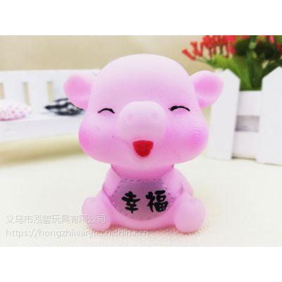 义乌泓智搪胶小猪公仔玩具定制六种表情戏水玩具捏捏叫发声玩具
