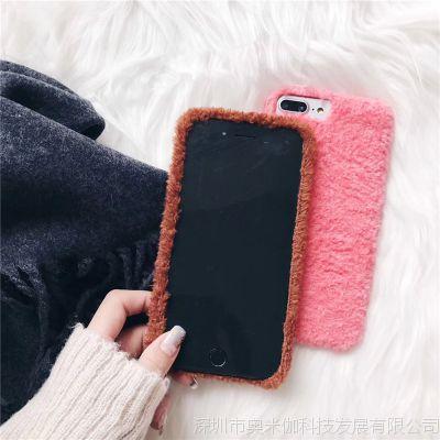 简约纯色可爱iPhonex毛绒手机壳冬款暖手宝oppor11/vivo三包软壳