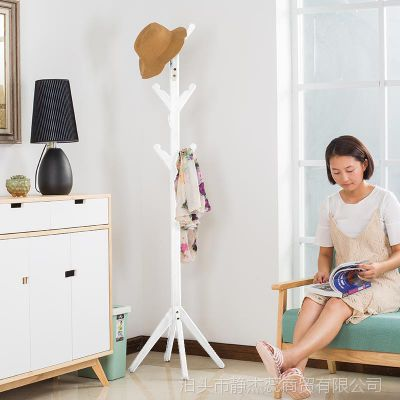 实木衣帽架 客厅组装衣架落地 卧室简易挂衣架木制收纳架yimaojia