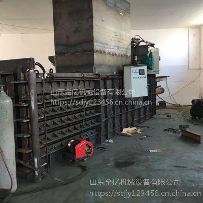 广州卧式塑料瓶打包机厂家 热销80-160吨卧式半自动废品压包机 山东金亿机械