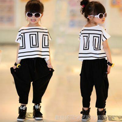 女童运动套装夏装新款潮韩版街舞服演出服蝙蝠衫表演服装