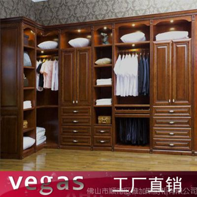 开放式全实木衣柜 佛山衣柜厂家定制移门衣柜 出口简易设计衣柜