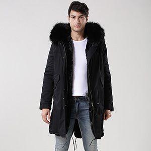 男士棉衣冬季加厚棉服欧美新款男装外套中长款皮草内胆大衣2018