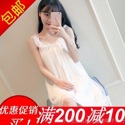 2018韩版睡衣女冰丝绸两件套装带胸垫吊带睡裙睡袍家居服夏季