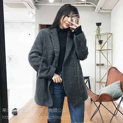 无涩一诺深圳哪里有外单尾货批发市场折扣女装 品牌衣服在哪里批发尾货黑色外套