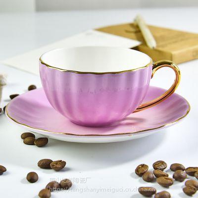 唐山亿美厂家批发色釉陶瓷咖啡杯碟 创意骨瓷咖啡杯下午茶杯办公水杯 礼品定制