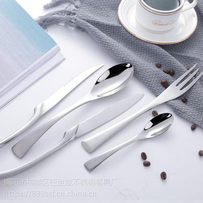 不锈钢西餐餐具刀叉勺 家用欧式牛排刀茶勺组合套餐 可镀金 LOGO