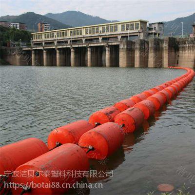 黄石水库警示浮筒双排拦污漂安装