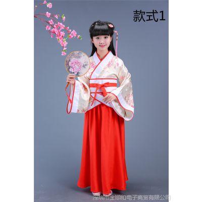 JSH儿童汉服女古装书生国学汉唐服装古典古代礼服表演服衣服小孩