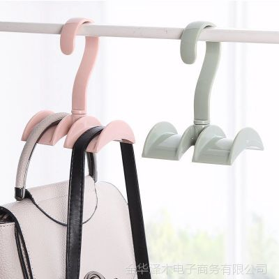 创意多功能可旋转衣柜包包挂架 塑料双挂钩衣帽架领带收纳架批发