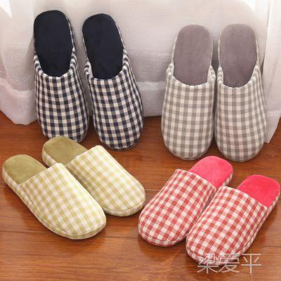 冬季日式家居棉拖鞋室内情侣木地板拖鞋男女软底防滑无声居家拖鞋