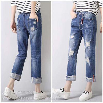 特卖会女装牛仔裤一手货源哪里找河南三门峡厂家直销库存小整单牛仔裤清仓