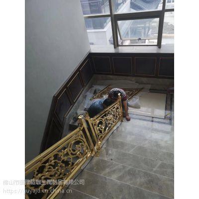 北京豪华别墅装饰铜艺楼梯,纯铜雕花楼梯护栏