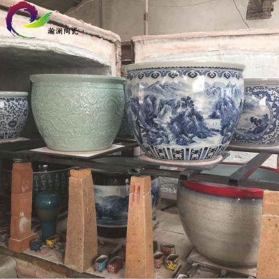 景德镇陶瓷鱼缸泡澡大缸 纯手工青花瓷山水鱼缸工艺品厂家直销