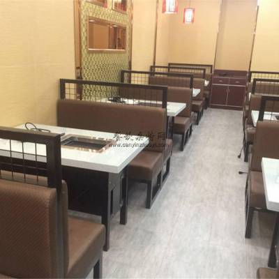 绵阳韩式烤肉店铁艺卡座沙发,烤肉店桌子定做加工