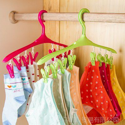 家用可旋转衣架防风卡扣加厚带夹子多功能晾晒内衣袜子晾晒架衣夹
