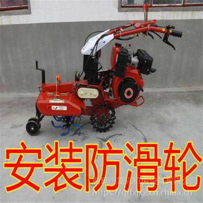 大棚履带式田园管理机富兴-家用小型开沟培土机-果园管理柴油开沟机
