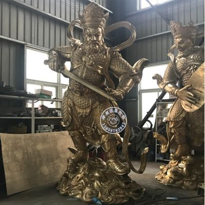 寺院纯黄铜四大天王佛像价格 站像3.8米四大天王佛像报价