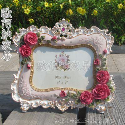 欧佰纳家饰6吋混批玫瑰田园树脂工艺品欧式婚纱相框创意婚庆礼品