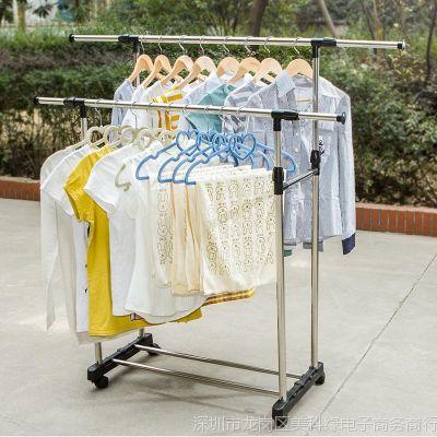 不锈钢室内晾衣架落地折叠可伸缩挂凉衣服架子晾衣杆晒被子嗮移动