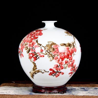 礼品.摆件景德镇陶瓷器名家手绘花瓶摆件紫气东来中式客厅玄关柜