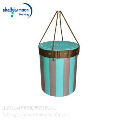 彩色印刷 可拎 天地盖 圆筒包装盒 带绳子圆形礼盒 各种纸罐