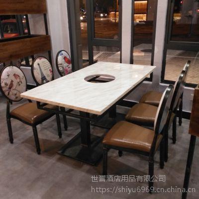 杭州火锅店餐桌椅 大理石餐桌订做 黑色铸铁脚4人餐桌