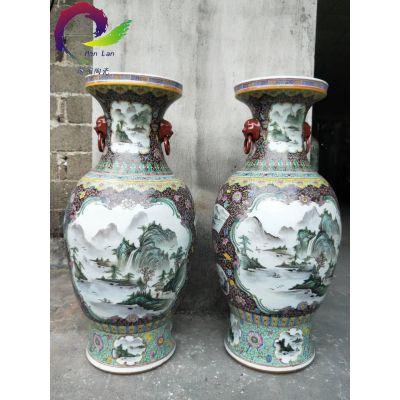景德镇陶瓷客厅落地大花瓶粉彩花开富贵1.2米1.8米客厅摆件