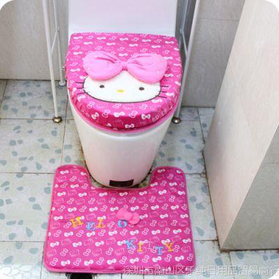 蝴蝶结马桶套凯蒂猫马桶套三件套kt卡通韩国绒坐便套垫