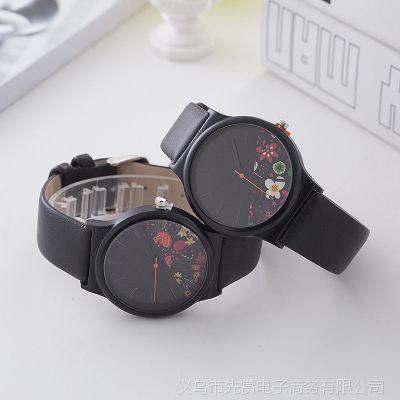 2018新款玫瑰花图案皮带手表女全黑女士手表厂家现货批发石英表