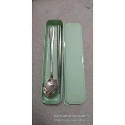 韩式便携餐具 304不锈钢筷勺二件套 户外旅行学生餐具厂家直销
