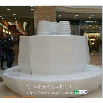 商场中庭花池坐凳 玻璃钢花池休闲椅