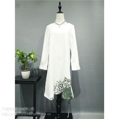 上海时尚休闲女装尘色秋装棉麻田园风格品牌上衣连衣裙走份货源