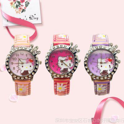 Kitty猫手表时尚韩版男孩女孩镶钻手表 厂家推荐可爱女士表
