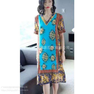 大码欧美风格正品品牌真丝连衣裙女装一手供应