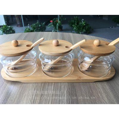 玻璃调味罐套装糖盐竹木盖厨房用品调味盒佐料盒创意调料瓶300ml