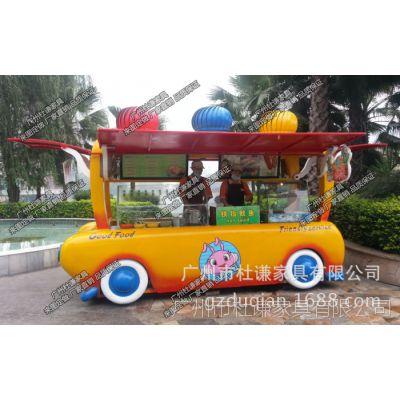 玻璃钢流动餐车景区卡通售卖商亭移动便利亭