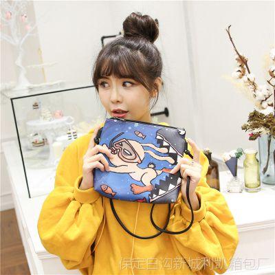 韩国可爱卡通印花原宿日系女软妹pu包单肩斜跨包迷你女包手机包