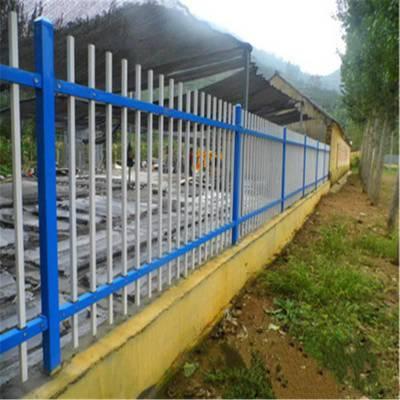 抚州市政园林蓝白相间喷塑锌钢护栏 崇仁广昌铁艺围墙小区工厂围栏