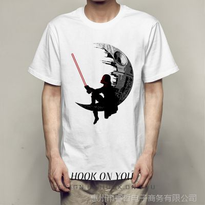 Black Samurai Moon 黑武士月球街头印花男士时尚潮款打底T恤衫热